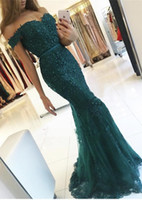 Wholesale Blue High Neck Lace Dress - Emerald Green Elegant Appliques Evening Dresses 2017 Robe De Soiree Beaded Crystal Prom Gowns Backless Sweatheart Mermaid Vestido de Fiesta
