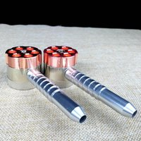 Wholesale Grinder Machine Parts - Metal Herb Grinder Smoking Pipe Six Shooter Two Function Tobacco Pipe Bullet Shaped 3 Parts Rolling Machine Rubblet Pipe