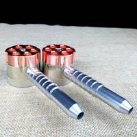 molinillos de forma de bala al por mayor-Metal Herb Grinder Tubo para fumar Six Shooter Dos funciones Tobacco Pipe Bullet En forma de 3 piezas Rolling Machine Rubblet Pipe