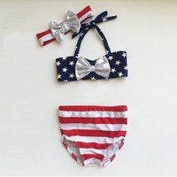 Wholesale Three Stars Pants - 2017 Childrens Three Pieces Swimsuits Baby Girl Stars Bow Tops with Striped Short pants with bow headbands Babies Summer Fashion Bikini