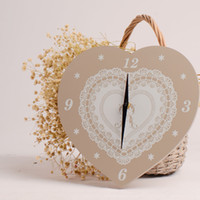 Wholesale Wedding Gifts Wall Clocks - Wooden wall clock heart clock pine wall decoration for smart home wedding gifts for guests 10.23 x 10.62 inch