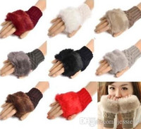 Wholesale Check Arm - Knitted Faux Rabbit Fur gloves Mittens Women Girl Winter Arm Length Warmer outdoor Fingerless Gloves Solid party favor christmas gift