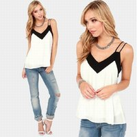Wholesale Styles Womens Tank Tops - Woman Vest Summer Style Sexy V Neck Womens Sleeveless Halter Blouse Vest Loose Chiffon Tank Tops Blouse Ladies Strappy Shirt Femininas Plus