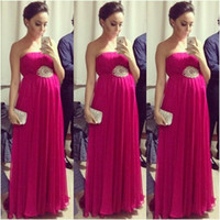 Wholesale Hot Dresses Pregnant Women - Hot Sale Fuchsia Empire Pregnant Prom Dresses 2016 Strapless Sleeveless Pleated Maternity Women Evening Formal Dress Red Carpet Celebrity