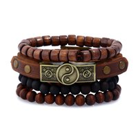 Wholesale Tai Chi Charms - Fashion Jewelry PU Woven Leather Hemp Rope Alloy Tai Chi Bracelet Men's Wooded Beaded Bracelet Sets Vintage Rock Punk Bracelet BH081