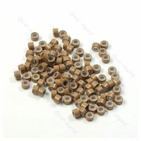 Wholesale Hair Crimping Beads - Wholesale-Lot of 100 pcs Silicone Micro Ring Feather Hair Extensions Crimp Beads khaki