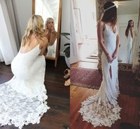 Wholesale spaghetti strap slit wedding dress - Lace Bohemian Wedding Dresses 2018 Sexy Deep V Neck Spaghetti Straps High Split Backless Wedding Gowns Beach Bridal Wedding Dresses