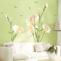 Wholesale Television Background Wallpaper - Background wall decoration bedroom living room small fresh wall stickers waterproof lily wallpaper self - adhesive wallpaper