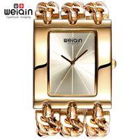 Wholesale Ladies Waterproof Watch Blue - Luxury Brand Gold Women's Bracelet Watches Lady Waterproof Fashion Bangle Dress Watch Woman Clock Wristwatch Relogio Feminino Drop Shipping