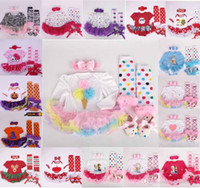 Wholesale Clothe Baby Girl Shoes - 50 styles NEW Baby Girls Christmas Hollow frozen Outfit 4 Pieces set romper + shoes +sock+ headband Baby kids Casual Clothing 4 pcs sets