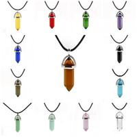 Wholesale cheap glass animals - Necklace Gold Chain Healing Crystals Amethyst Rose Quartz Glass Resin Stone Chakra Healing Point Jewelry Cheap Pendants Necklaces