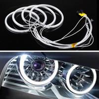 bmw e36 ışıklar toptan satış-BMW E46, E36, E39 için Işık 6000K Soğuk Beyaz Far Running 4adet Araba DRL CCFL LED Angel Eyes Gündüz