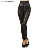 Wholesale Metallic Jeggings - Wholesale- 2017 High Quality Sexy Women Leggings High Waist Faux Leather Leggings Metallic Leggings Black Sexy Women Pants Slim Jeggings