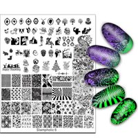 Wholesale Large Nail Plates - Exclusive Nail Stamping Plate Super Large 17*21cm Little Monster Flower Skull Image Stamp Template Manicure Nails Beauty 2017