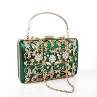 Wholesale Crystal Flower Clutch Purse - Rhinestone crystal diamond fashion velour women day clutch small purse bag with shoulder chain handbag Banquet package free shipping