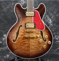 rote hohle körpergitarren großhandel-Benutzerdefinierte 50th Anniversary 1963 ES-33 Semi Hohlkörper Amber Sunburst E-Gitarre 5A Steppdecke Ahorn Gold Hardware Red Turtle Pickguard