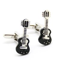 Wholesale Guitar Cuff Links - Black Guitar Cufflinks Wholesale Cufflink Mens Cuff link Personalised Cufflink Uk French Shirt Accessories for Mens Gift 550158