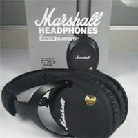 Wholesale Wireless Headphones Helmets - Marshall Monitor Bluetooth Wireless Audio Helmet On Ear Wireless Headphones - Black