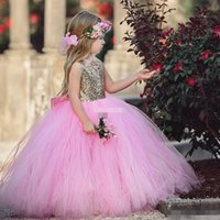 Wholesale Puffy Dresses For Cheap - Cute Pink Ball Gown Flower Girl Dresses for Bohemia Wedding Puffy Tulle Sash Gold Sequins 2017 New Cheap Girls Pageant Dresses for Communion