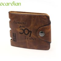 Wholesale Drop Shipping Purses - Wholesale- Mens Genuine Leather Bifold Wallet Credit ID Card Holder Slim Purse Drop Shipping Wholesale