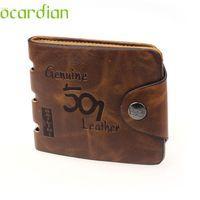 Wholesale wholesale mens leather wallets - Wholesale- Mens Genuine Leather Bifold Wallet Credit ID Card Holder Slim Purse Drop Shipping Wholesale