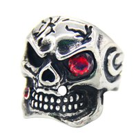 Wholesale Skull Ring Ancient - Stainless Steel Detailed Skeletons Ancient Skull with Zircon Ring Vintage Skeleton Skull Titanium Steel Rings Men Fashion Personalized Ring