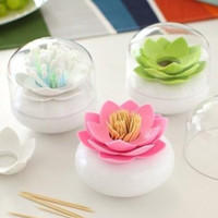 Wholesale White Toothpick Holder - Creative Lotus Cotton Swab Box Case Container Toothpicks Holder PC Plastic Storage Box Home Organizer 8cm