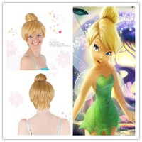 Wholesale Short Straight Hair Extensions - 30cm Short Blonde Cosplay Wig Fairy Tinker Bell Full hair Wig Synthetic Wigs Anime Princess Tinkerbell Straight Adult Cheap Wigs