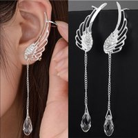 Silver Plated Angel Wing Stylist Pendientes de cristal Drop Dangle Ear Stud para mujeres Pendiente largo del manguito ER623