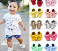 Wholesale Baby Patent Shoe Wholesalers - Baby First Walkers Soft Sole Bow Tassels shoes Baby Girl Spring Autumn Shoes 5107