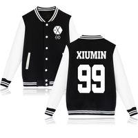 Wholesale Han Baseball Jacket - Wholesale- Hot sales EXO Lu Han Wu Yifan bomber jacket personality tide Korean baseball clothing mens jackets and coats free shipping