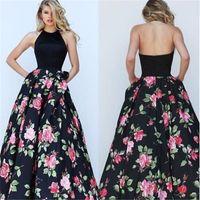 Wholesale Neck Designs Hanging Balls - 2017 deft design S,M,L,XL Neck hanging printing large swing dress beautiful Party Dresses