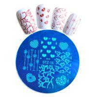 Wholesale Heart Shape Nail Art - Wholesale- 1pcs Love Heart & Star Shape Nail Art Stamp Template Image Plate #STZA15