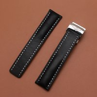 pulseira de couro para homens venda por atacado-Nova Chegada Pulseiras de Relógio Correias Altas Pulseiras De Couro De Couro Preto Pulseira para marca de relógios de pulso bandas mens 22mm 24mm preto de alta qualidade