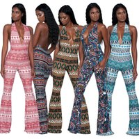 Wholesale Geometric Jumpsuits For Women - Rompers Printing Sexy Jumpsuits For Women Print Sleeveless backless V neck sundress Jumpsuits girl Rompers Drop shipping