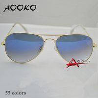 güneş gözlüğü kadın mavi toptan satış-AOOKO Sıcak Satış Gafas Degrade Gri Mavi Kahverengi Tarzı Ayna cam Güneş Glasse óculos de sol FEMININO UV400 Erkek Kadın Güneş Gözlüğü 58mm 62mm
