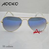 ingrosso occhiali da sole blu per gli uomini-AOOKO Vendita Calda Gafas Gradiente Grigio Blu Marrone Stile Specchietto in vetro Sun Glasse oculos de sol FEMININO UV400 Uomo Donna Occhiali da sole 58mm 62mm