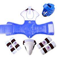 Wholesale Woman Head Gloves - woman Boxing Taekwondo Thai Chestguard head Helmet gloves Chest Shin Protector 5 pcs set