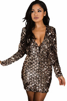 Wholesale Long Green Laser - sparkly Women Summer Fashion Dress Laser Glitter Sequined Sparkle Sequin Mini Club Dresses Long Sleeve Sexy Vestidos Party Vestido