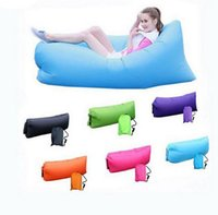 Wholesale 30pcs Fast Inflatable Sofa Air Sleeping Bags Beach Lounger Hangout Couch Portable Camping Hiking Beds Lazy Beach Outdoor Lay Chairs