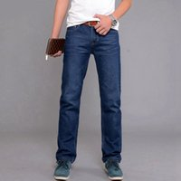 Wholesale Vintage Denim Work - summer autumn Men jeans work office Business casual denim pants slim fit male long loose jeans blue plus size 38