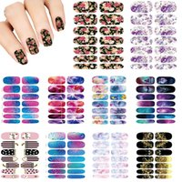 Wholesale Nail Wrap Sticker Galaxy - Wholesale-Nails Art Lot flower Mystery Galaxies Design stickers for nails Manicure Decor Fashion Nail Stickers Wraps Water Sticker Decals