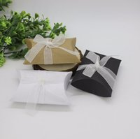 black pillow box favors - 100pcs Pillow Style Black White Brown Kraft Paper Wedding Favors Candy Boxes with ribbons Baby Shower Party Gift Box