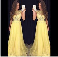 Wholesale Evenign Dresses - Hot Sale 2017 Yellow A Line Prom Dresses Jewel Neck Lace Applique See Through Chiffon Floor-Length Formal Evenign Gowns