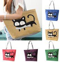 Wholesale Shoulders Handbags For School - Wholesale-Special Cartoon Cat Fish Canvas Handbag Preppy School Bag For Girls Women's Handbags Cute Bags HB88