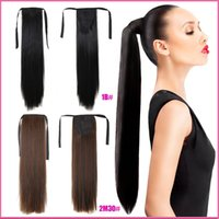"Wholesale Top Piece Clip Extensions - Wholesale- 26"" Long Ponytail Clip In Pony Tail Hair Extension Extensions Wrap on Hair Piece Straight Style 100% Top Quality Free Shipping"