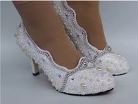 Wholesale Crystal Flat Dress Shoes - New Sweet Women High Heel Dress Shoes white lace crystal pearl Wedding Bridal shoes