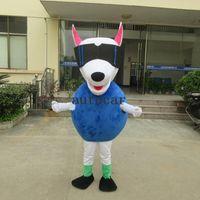 yetişkin köpek takım elbisesi kostümü toptan satış-Serin Robot Köpek Maskot Kostüm Güneş Gözlüğü Köpek Komik Elbise Yetişkin Boyutu Cadılar Bayramı Noel Partisi Suit Ücretsiz Kargo