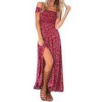 Wholesale Floral Tube Dress - Wholesale- Summer Women's Vintage Dress Floral Print Off Shoulder Split Tube Long Party Maxi Dress Beach Dresses