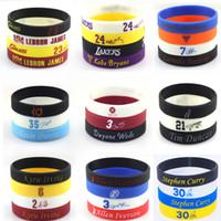 Wholesale Kobe Chain - Promotion Wholesale 100pcs lot Silicone Wristband for Basketball All Star Jordan Bracelets Kobe LeBron Curry Silicone Bands